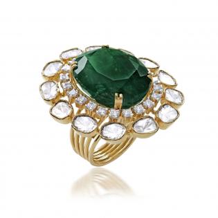 Mughal Dynasty Era Uncut Diamond Gold Ring FRERBVA001