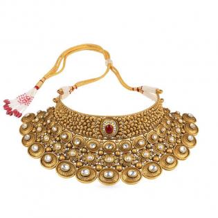 Gupta Dynasty Ethnix Gold Choker Necklace NEANBVA001