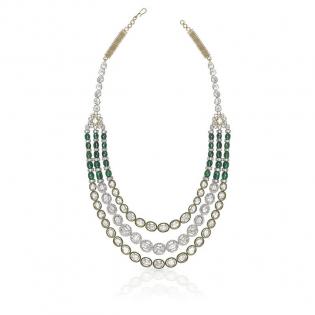 Mughal Dynasty Era Uncut Diamond Gold Necklace NEERBVA002