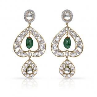 Mughal Dynasty Era Uncut Diamond Gold Earring STERBVA002