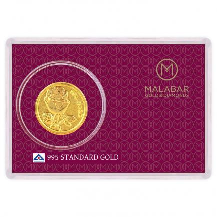 Malabar Gold Designer Coin 995 Purity Rose MGRS995B