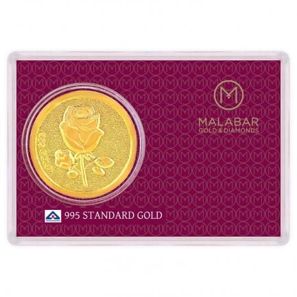Malabar Gold Designer Coin 995 Purity Rose MGRS995C