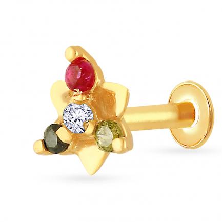 Malabar 22 KT Studded Gold Screw Nosepin NPDSDZ057