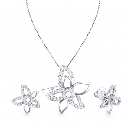 Mine Platinum Diamond Necklace Set PE671004