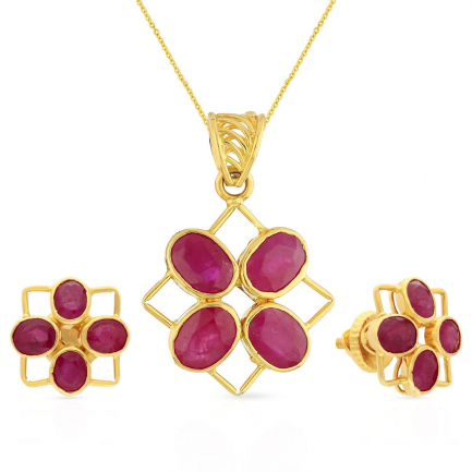 Precia Gemstone Gold Pendant Set PSNYN2883