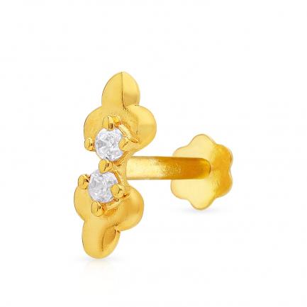 Malabar 22 KT Studded Gold Screw Nosepin SKYDZNP0154
