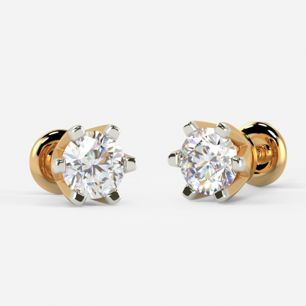 Mine Solitaire Yellow Gold Earring Mount UIER36699DY