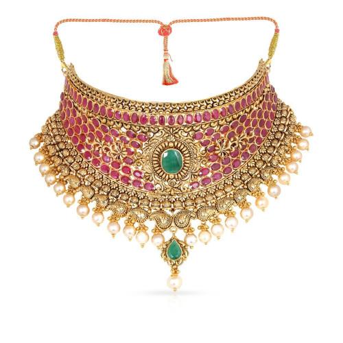 Telugu Bride Precia Gemstone Necklace NEPRHDOSCKA004