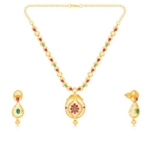 Precia Gemstones Gold Necklace Set NSPGNFLG857NK2