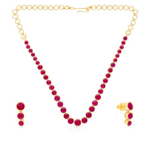 Precia Gemstones Gold Necklace Set NSPGNTRA799NK2