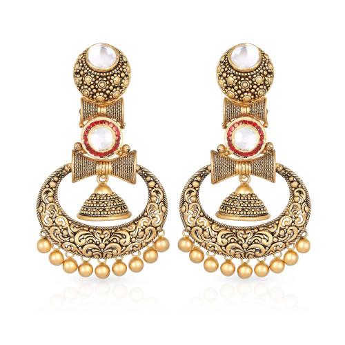 Gujarati Bride Ethnix Gold Earring STGEANKDRGA004