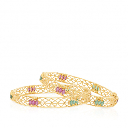 Precia Gemstone Gold Bangle Set BSUSBG164609