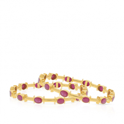 Precia Gemstone Gold Bangle Set BSUSBG190542