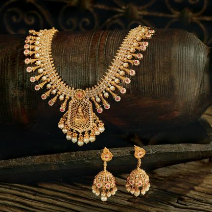 Era Uncut Diamonds Gold Necklace Set NSUSETRDHRC002NK2