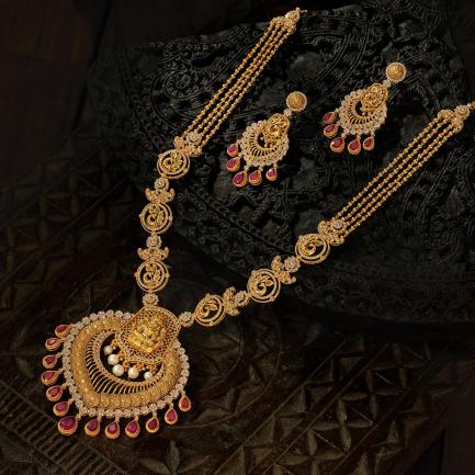 Era Uncut Diamonds Gold Necklace Set NSUSETRDHRC003NK2