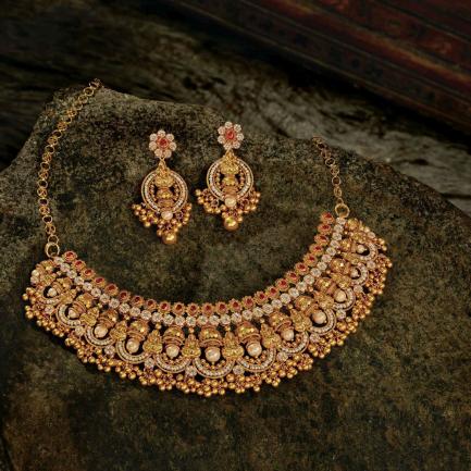 Era Uncut Diamonds Gold Necklace Set NSUSETRDHRC004NK2