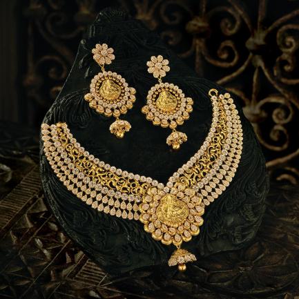 Era Uncut Diamonds Gold Necklace Set NSUSETRDHRC006NK2