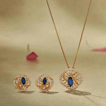 Mine Diamond Gold Pendant Set PSMN5AKT20PN001