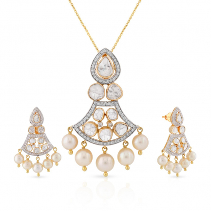 Era Uncut Diamond Pendant Set USETRDPLK013PN5