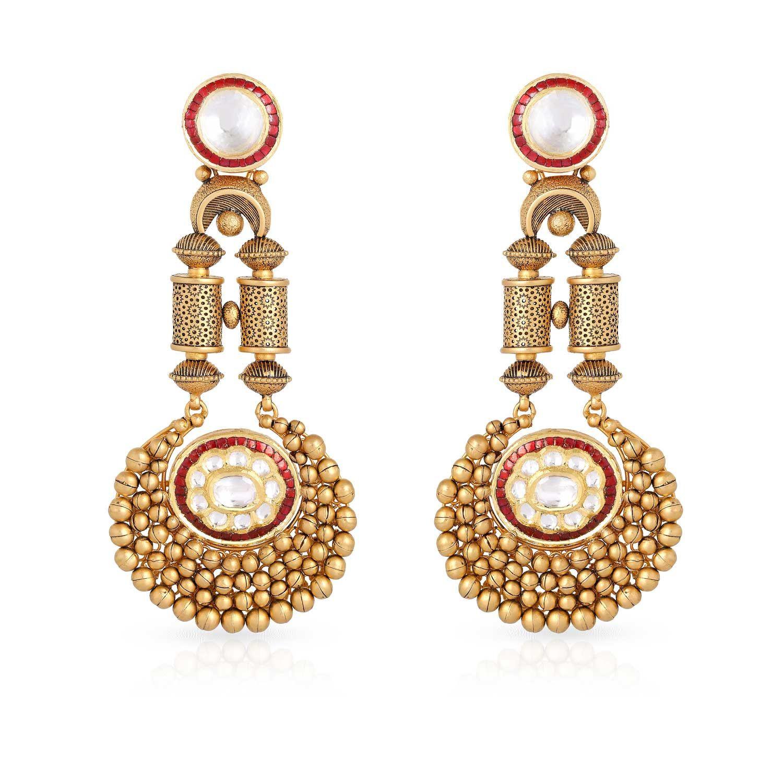 Gujarati Bride Ethnix Gold Earring STGEANKDRGA003